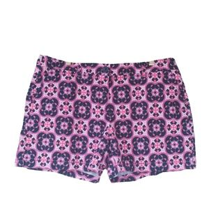 Crown & Ivy 16 Pink & Navy Geometric Print Shorts